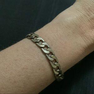 Vintage Silver-tone Curb Chain Bracelet